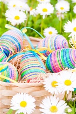 Preview iPhone wallpaper Easter, eggs, daisies, white flowers, spring