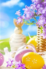 Preview iPhone wallpaper Easter, spring, eggs, Bunny, flowers