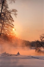 Preview iPhone wallpaper Evening, trees, sunset, winter, river