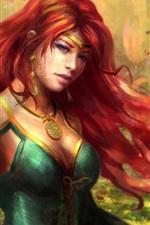 미리보기 iPhone 배경 화면 판타지 소녀, 빨간 머리, 숲