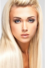 Preview iPhone wallpaper Fashion blonde girl, long hair, makeup