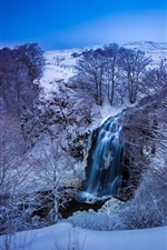 Preview iPhone wallpaper France, winter, snow, mountains, river, waterfall, trees, blue, dusk