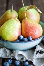 Preview iPhone wallpaper Fruits, pears, blueberries, spoon, still life