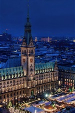Preview iPhone wallpaper Germany, Hamburg, night, skyline, city, house, lights