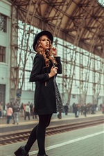 Preview iPhone wallpaper Girl at train station