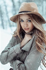 Preview iPhone wallpaper Girl in the snow winter, cold, hat