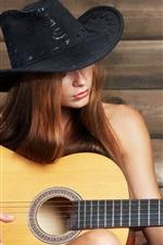 Preview iPhone wallpaper Girl play guitar, music, hat
