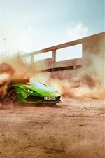 미리보기 iPhone 배경 화면 녹색 람보르기니 슈퍼카, 속도, 먼지, 드리프트