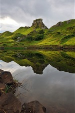 Preview iPhone wallpaper Hills, lake, water reflection, clouds