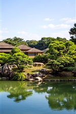 Preview iPhone wallpaper Japan Ritsurin garden, pond, trees, house