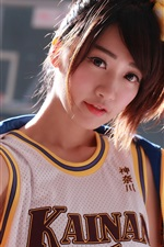Preview iPhone wallpaper Japanese girl, basketball, sports uniform