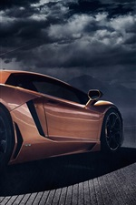Preview iPhone wallpaper Lamborghini Aventador LP700-4 orange supercar back view, dusk