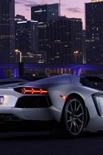 미리보기 iPhone 배경 화면 람보르기니 Aventador LP700-4 초차, 도시, 밤
