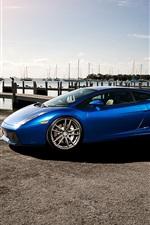 Preview iPhone wallpaper Lamborghini Gallardo blue supercar, dock, boats