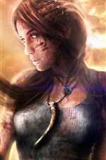 Preview iPhone wallpaper Lara Croft, Tomb Raider, wind, dusk