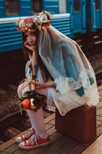 Preview iPhone wallpaper Lonely girl, bride, train, suitcase