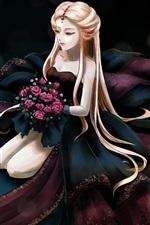 Long hair anime girl, rose flowers