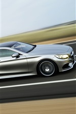 Preview iPhone wallpaper Mercedes-Benz S-Class silver car, speed, road