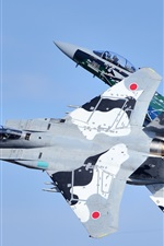 Preview iPhone wallpaper Mitsubishi F-15DJ fighters, flight, sky