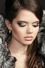 Preview iPhone wallpaper Model girl, makeup, closed her eyes, coat