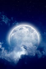 Preview iPhone wallpaper Moon, moonlight night, cloudy sky