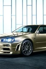 Nissan Skyline R34 golden car