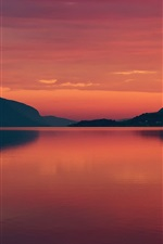 Preview iPhone wallpaper Norway, fjord, summer, morning, dawn, red sky