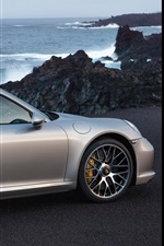 Preview iPhone wallpaper Porsche 911 Turbo silver car rear view
