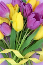 Preview iPhone wallpaper Purple yellow flowers, tulips bouquet, ribbon