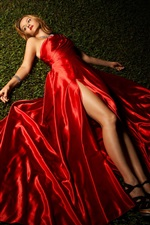 Preview iPhone wallpaper Red dress girl lying grass