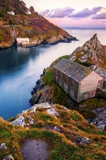 Preview iPhone wallpaper Rocks, sea, coast, houses