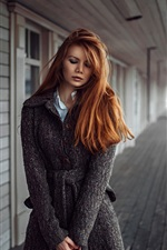 Preview iPhone wallpaper Sadness girl, redhead, coats, river