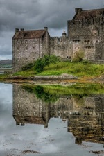 Preview iPhone wallpaper Scotland, castle, lake, grass, sky, clouds
