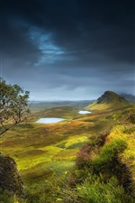 Preview iPhone wallpaper Scotland, highland region, summer, hills, valley, grass, flowers