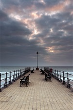 Preview iPhone wallpaper Sea, bridge, bench, clouds, dusk
