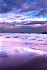Preview iPhone wallpaper Sea, ocean, beach, night, sky, clouds, dusk
