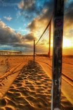 Sunset, beach, bridge, clouds