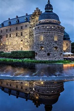 Preview iPhone wallpaper Sweden, castle, river, water, evening, lighting, sky
