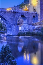 Preview iPhone wallpaper Toledo, Spain, river, bridge, evening, lights, hillside house