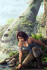 Preview iPhone wallpaper Tomb Raider, Lara Croft, airplane, ruins
