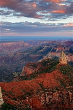 Preview iPhone wallpaper USA, Arizona, Grand Canyon, cliff, rock, sky, clouds, dusk