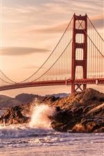 Preview iPhone wallpaper USA, San Francisco, Golden Gate bridge, rocks, waves, beach
