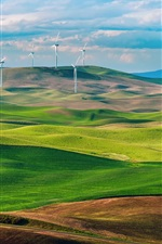 Preview iPhone wallpaper USA, Washington, green fields, wind turbines