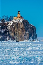 Preview iPhone wallpaper Winter, snow, lighthouse, frozen