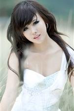 Preview iPhone wallpaper Asian, black hair girl, grass
