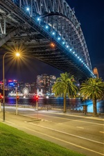Preview iPhone wallpaper Australia, Sydney, night, bridge, river, lights, palm trees