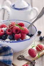 Berries, raspberry, blueberry, alarm clock, bowl