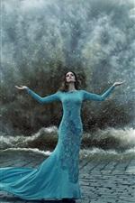 Preview iPhone wallpaper Blue peacock dress girl, gesture, storm, water splash