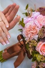 iPhone fondos de pantalla Flores del ramo, rosas, el casarse, amor, mano