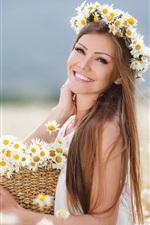 Preview iPhone wallpaper Brown hair girl, flowers, daisies, basket